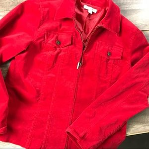 Coldwater Creek Red Velvet Stretch zipper jacket